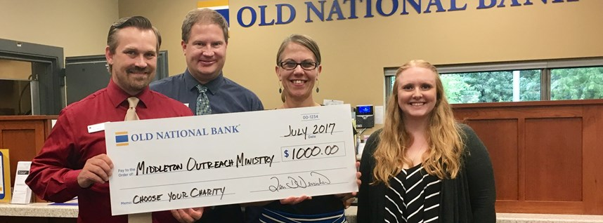 MOM awarded $1,000 as part of Old National Bank's Choose Your Charity Giveaway